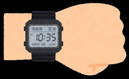 デジタル腕時計を付けた腕のイラスト