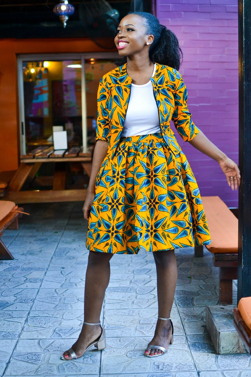 Ankara Skirt Suit on a Classy Black Blogger