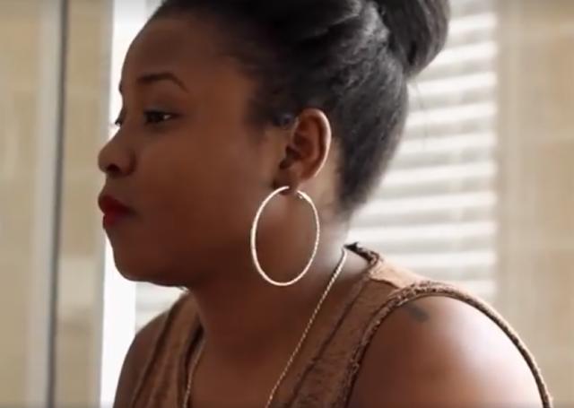 African woman looking sideways