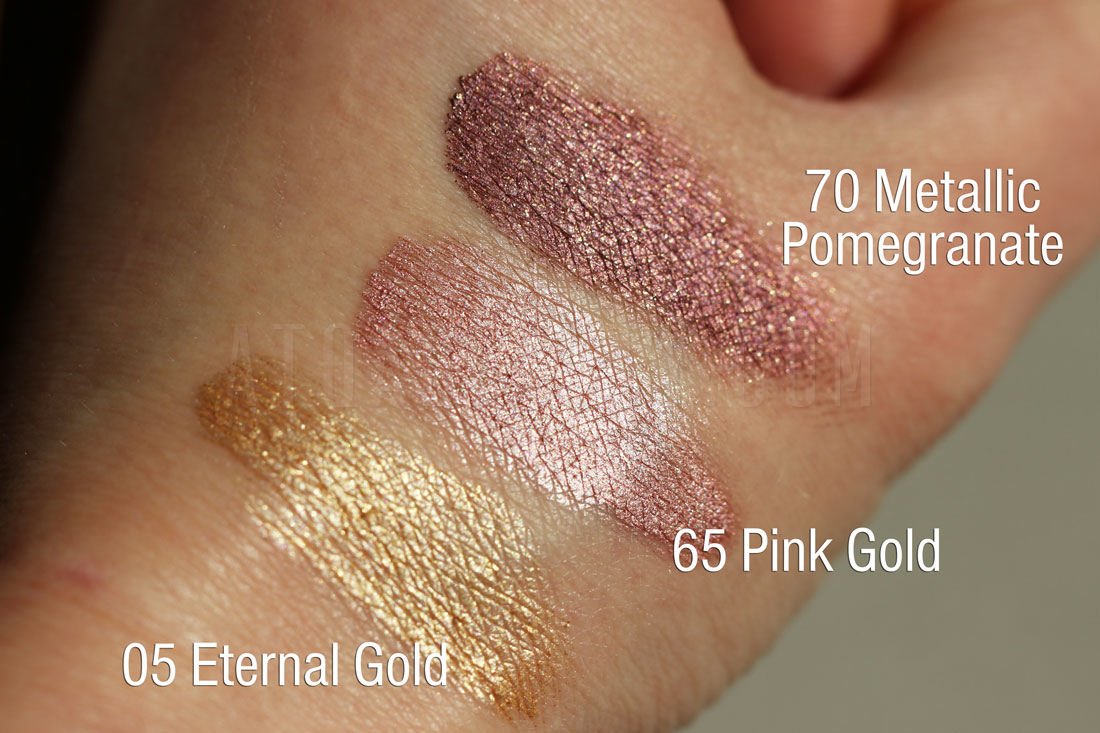 Maybelline, Color Tattoo 24 HR, 05 Eternal Gold, 65 Pink Gold i 70 Metallic Pomegranate