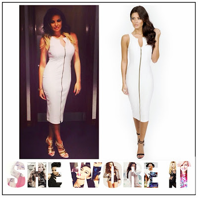 Bodycon, Bright, Celebrity Fashion, Celebrity Style, Dress, Forever Modo, Jessica Wright, Midi Dress, Silver, Sleeveless, The Only Way Is Essex, TOWIE, White, Zip Detail,