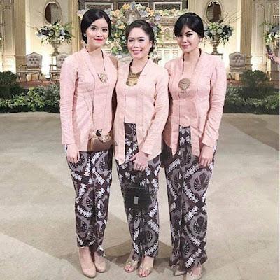 Model Kebaya kutubaru Pink Rok Batik Panjang