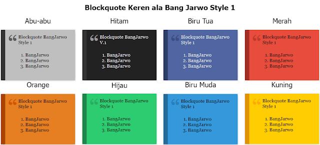 Cara Membuat Blockquote Keren dengan Flat Design - Style 1 ala Bang Jarwo