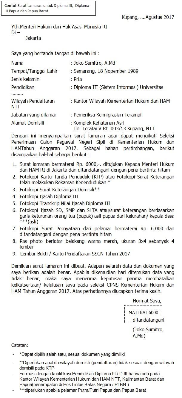 Format surat lamaran CPNS Kemenkumham Untuk Diploma III,  Diploma III Papua dan Papua Barat