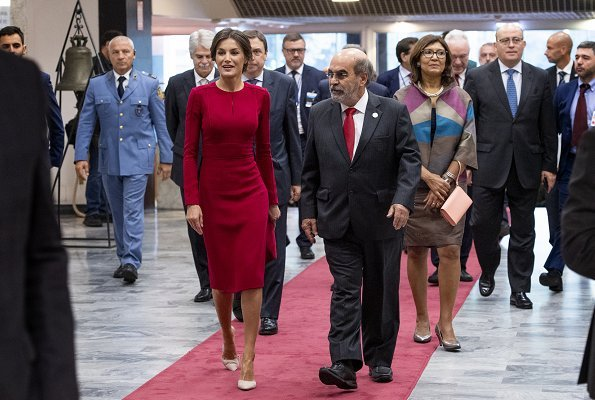 Queen Letizia wore Carolina Herrera red dress, carried Felipe Varela clutch bag. Queen visited the Spanish Royal Academy in Rome