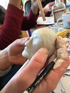 puppet face in the making - at Corina Duyn's studio