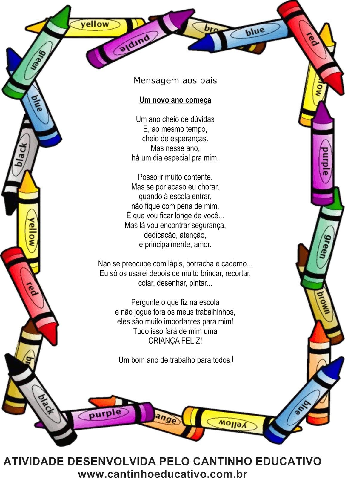 Mensagens Para A Primeira Reunião De Pais Cantinho Educativo