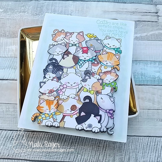 Cats are like potato chips card by Naki Rager | Company of Cats Stamp Set by Newton's Nook Designs #newtonsnook