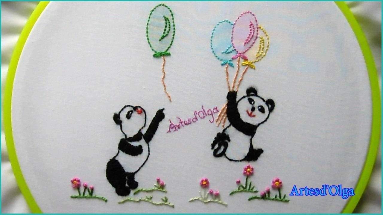 Artesd\'Olga: Bordado a mano para bebé: Pandas con globos | Hand ...
