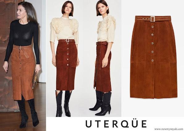 Queen Letizia wore Uterqüe Studded Suede Midi Skirt