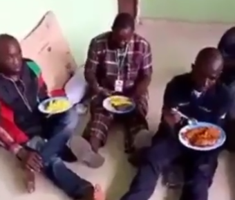 Trending Video Allegedly Shows Nigerian Army Feeding Arrested IPOB Security Operatives With Jollof/Fried Rice