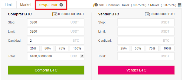 Orden de Stop-Limit Binance