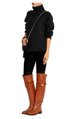 Широкие ботфорты на плоской подошве с темными брюками и свитером для высоких девушек