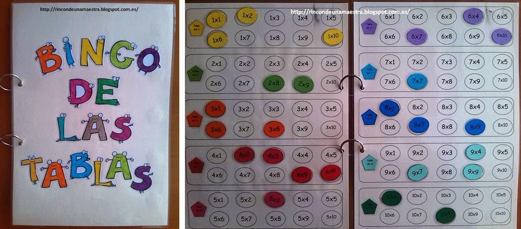 Rincón de una maestra: El bingo de las tablas