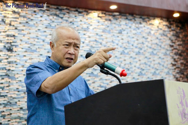 Funcinpec party president Prince Norodom Ranariddh talks to supporters during a party meeting in Phnom Penh last year. Pha Lina