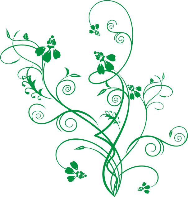 Ornament Vector Ornamen Bunga Hijau Green Flower