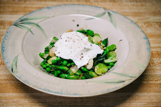 Poached Egg Over Peas, Beans and Asparagus