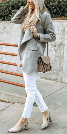 Just knitted long blazer, leggings in white | Casual blazer outfits are arguably the best work outfits. Find the best work blazer with these 25 womens blazer outfit ideas. Best blazer styles and blazer fashion via higiggle.com #blazer #workoutfits #fashion #style