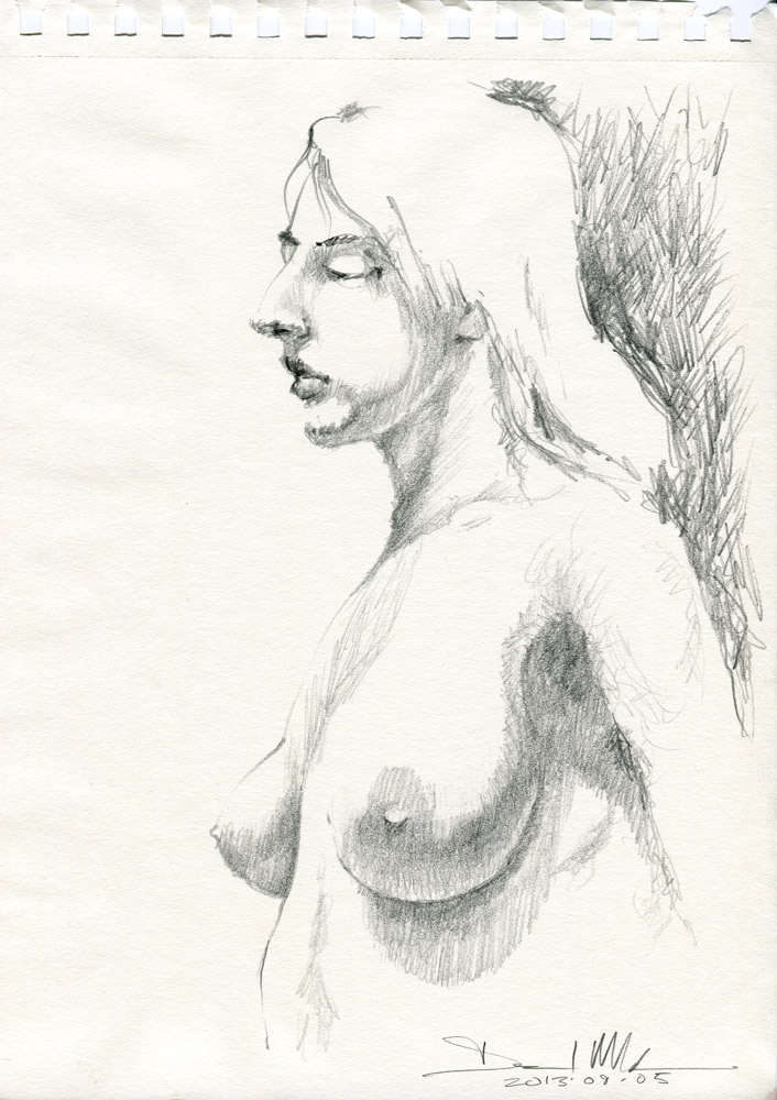 Nude sketch by David Meldrum 20130905