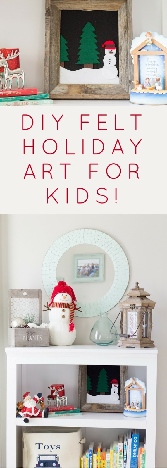 How to make easy kid friendly framed felt holiday art.