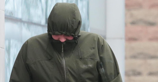 Ruthin,North Wales - A brazen flasher comes over all shy after he's found guilty of exposing himself to old lady