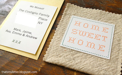 diy moving annoucement tags in drop cloth pockets