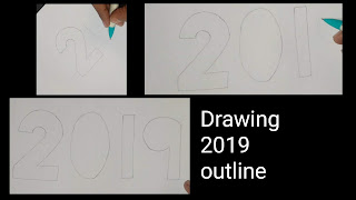 2019 3d drawing, happy new year 2019, 3d drawing of 2019, how to draw 2019 on paper , learn to draw 2019, step by step tutorial for to draw 2019