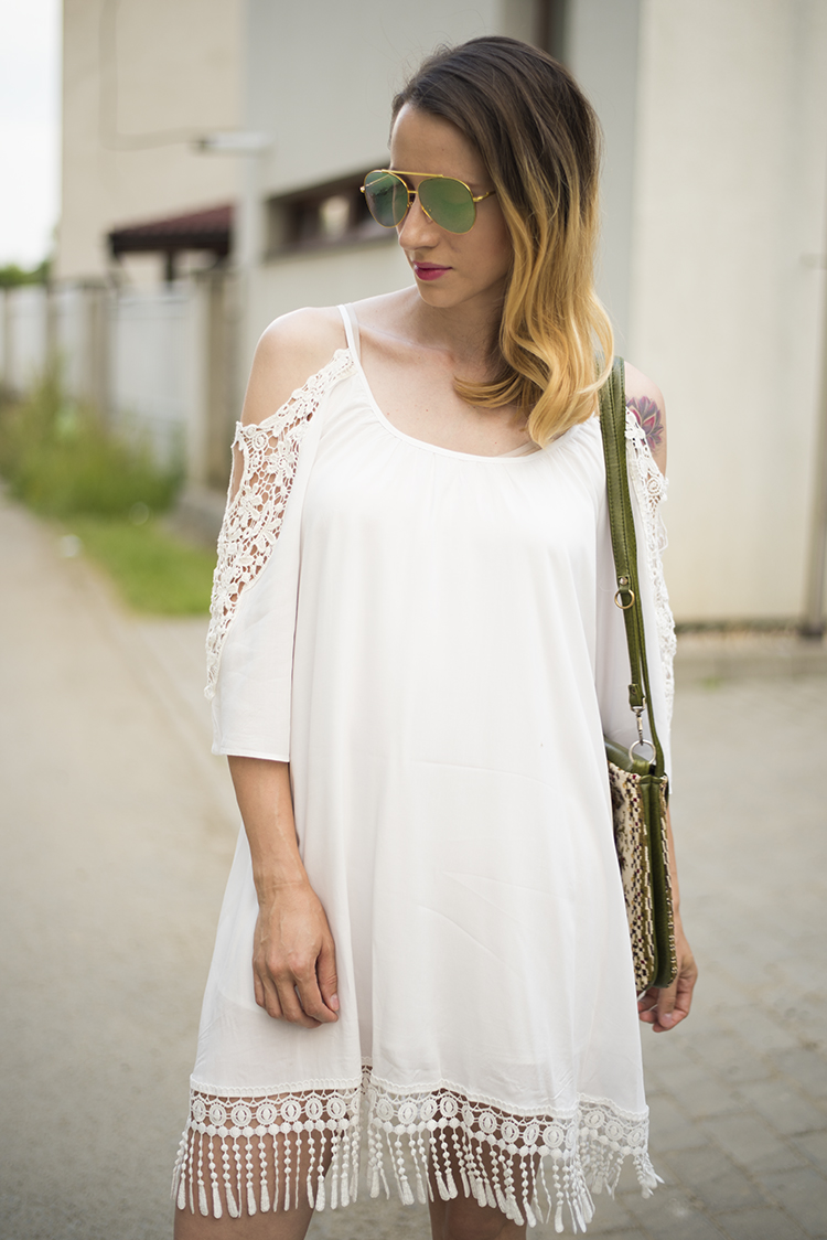 how to stretch back shrunken rayon garments White Open Shoulder Crochet Lace Sleeve Tassel Dress