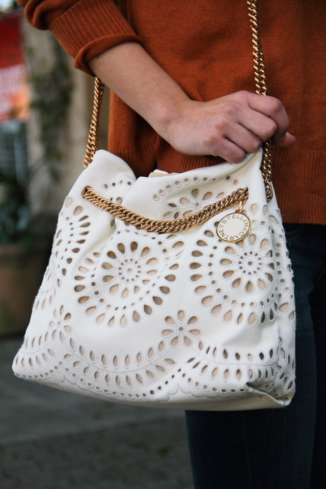 stella mccartney noma eyelet ivory bag vegan leather bucket bag