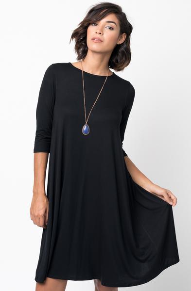 Shop for Black Shirred Back Midi 3/4 sleeve jersey dress crew neck online on caralase.com