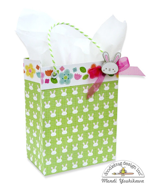 Doodlebug Design Easter Express Gift Bag featuring Collectible Pins by Mendi Yoshikawa