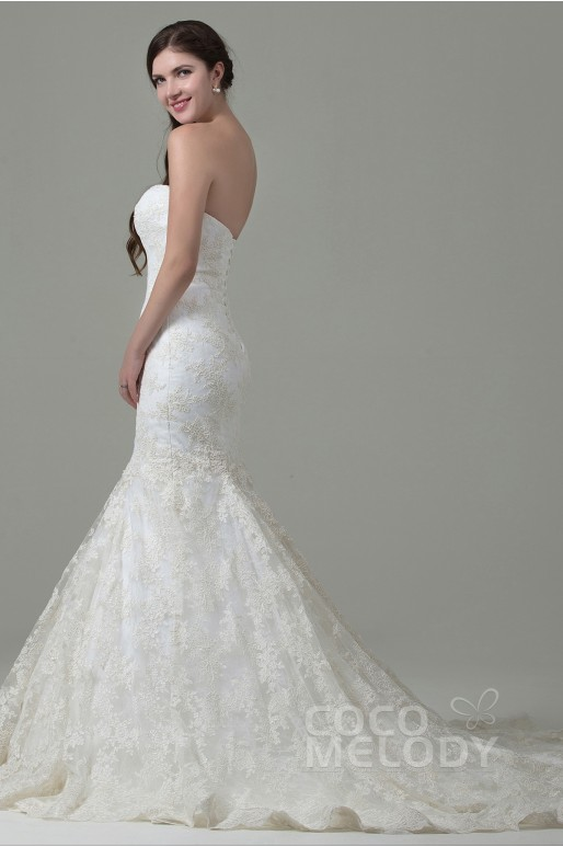 Fabulous Trumpet-Mermaid Sweetheart Train Lace Ivory Sleeveless Lace Up-Corset Wedding Dress