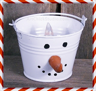 Snowman Bucket Light Christmas Craft
