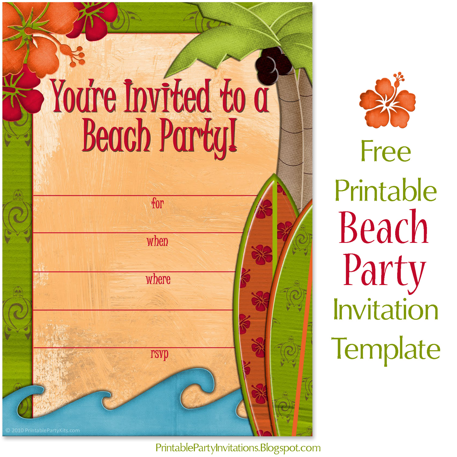 photograph about Beach Party Invitations Free Printable known as Cant uncover subsution for tag [posting.overall body]--\u003e Cost-free Invitations