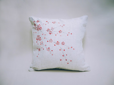We decorated this plain unloved cushion using DecoArt Americana acrylics, fabric medium and the Series 2 Oriental blossom design from You Can Folk It #sakura