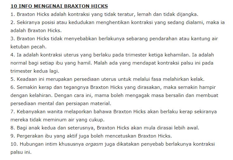 Info Mengenai Braxton Hicks (Contraction Palsu) Yang Ibu Mengandung Perlu Tahu