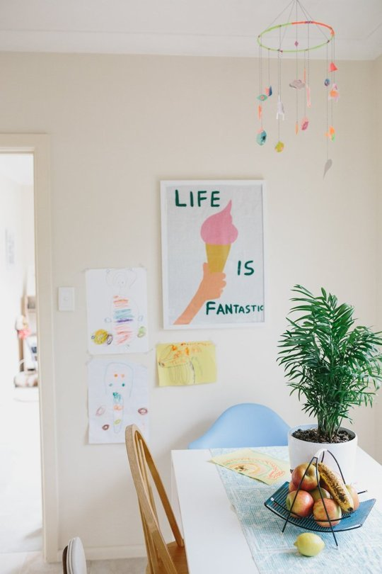 ICE CREAM CONE ART ROUNDUP from Honey and Smoke Studio - Life is Fantastic Tea Towel from Third Drawer Down as featured on Laura Blythman's Neon Dream Home Tour on Apartment Therapy