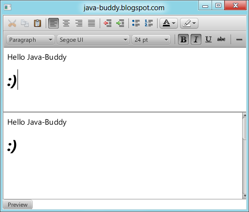 Java-Buddy: Preview HTMLEditor content in WebView
