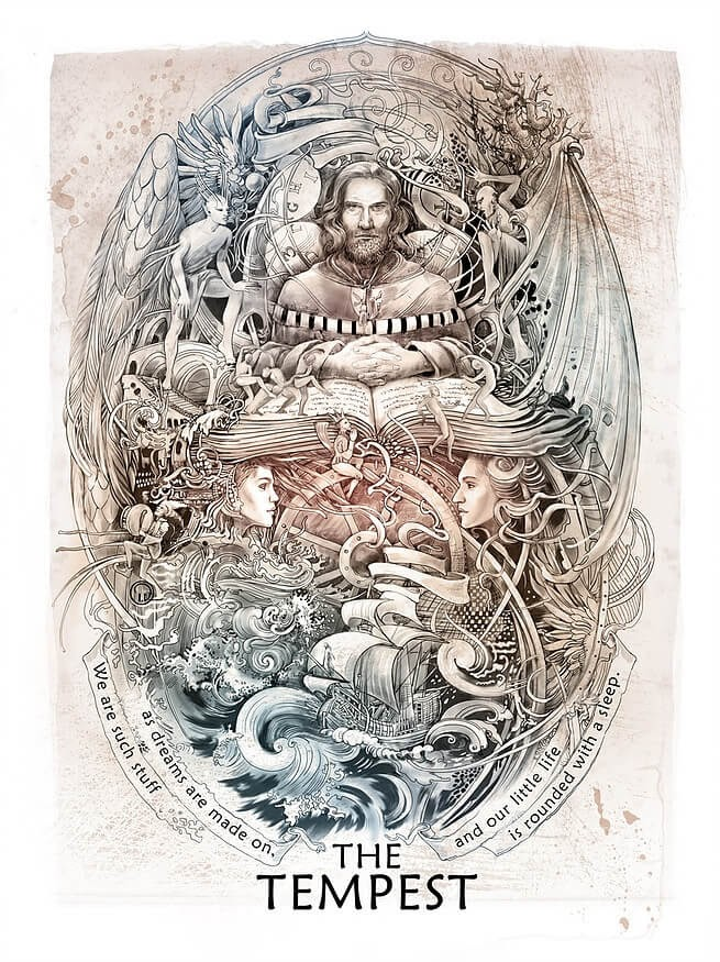09-The-Tempest-Irina-Vinnik-Intricate-Drawings-for-a-Shakespeare-Calendar-www-designstack-co