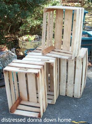 crates, dresser, silver tray, vintage finds