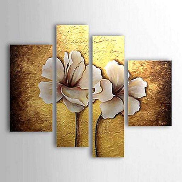 Cuadros modernos pinturas y dibujos flores grandes al leo for Tripticos modernos para salon