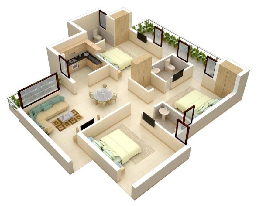 image modern minimalist House floor plan