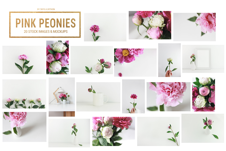 Pink floral peonies stock photo's mockups skyla design