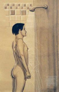 garçon nu, sous la douche, esquisse