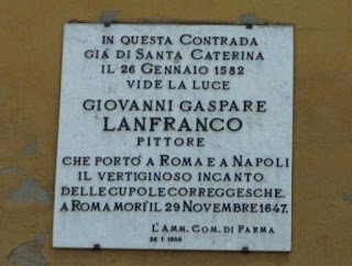 A plaque marks the house in Parma where Lanfranco was born and raised in a poor family