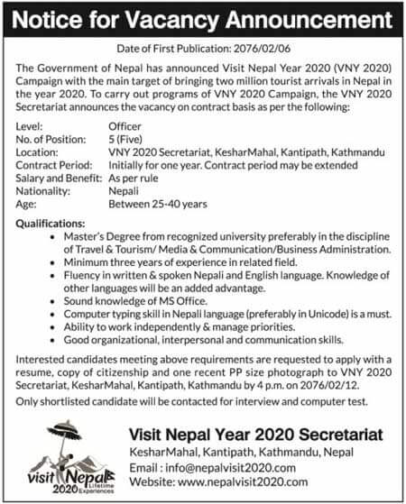 Vacancy Notice for Visit Nepal Year 2020