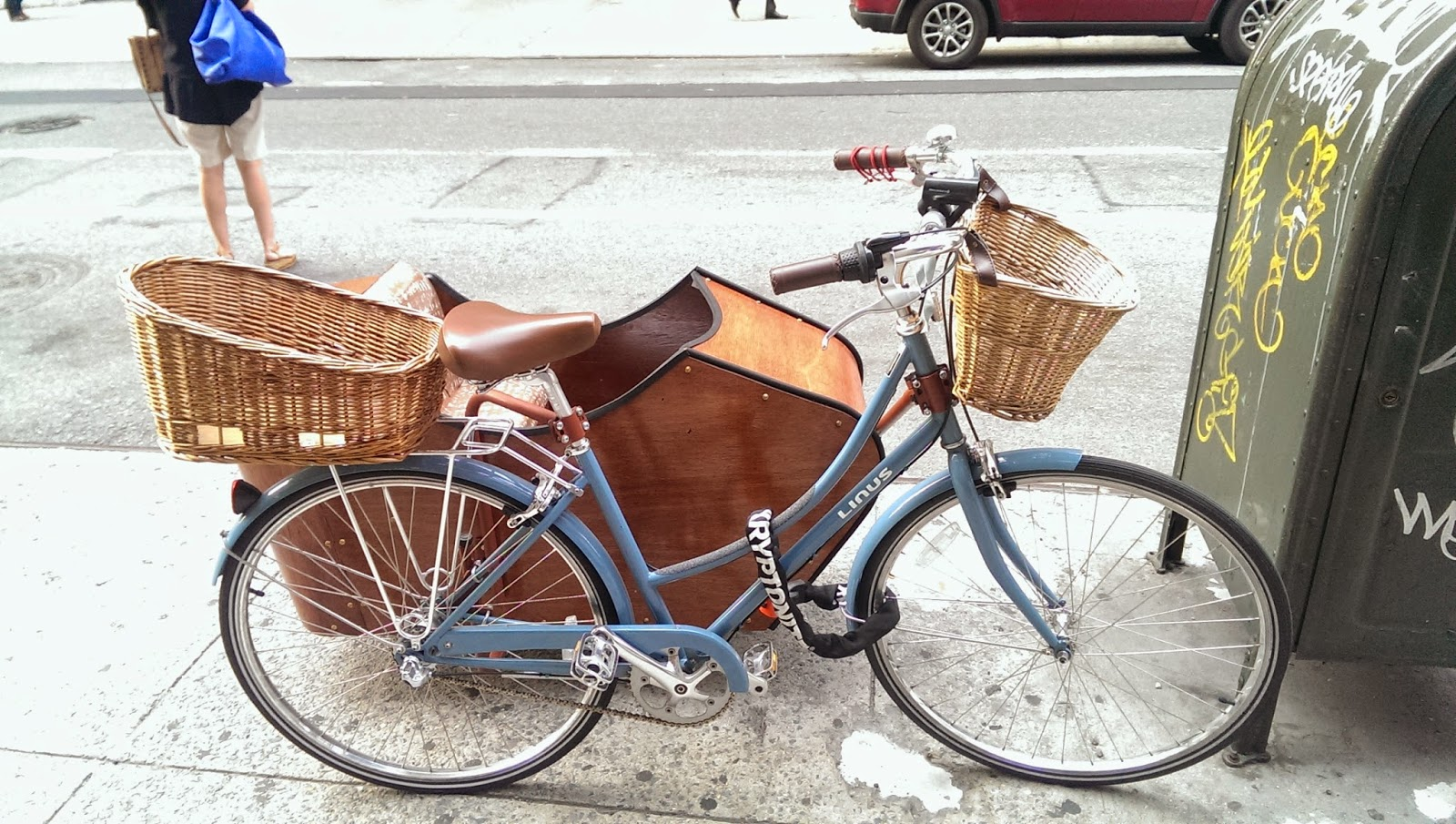 Cool Bicycle With Wooden Sidecar And Front Back Baskets Spotted in