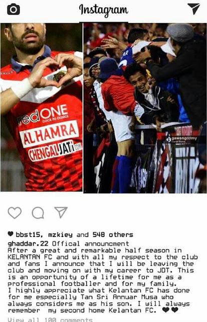 Ghaddar Sah Tinggalkan TRW, Rasmi Ke JDT Perpindahan Musim Kedua!