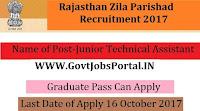 Rajasthan Zila Parishad Recruitment 2017– 143 Junior Technical Assistant & Accounts Assistant