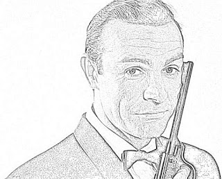 Sean Connery as James Bond coloring pages jamesbondreview.filminspector.com